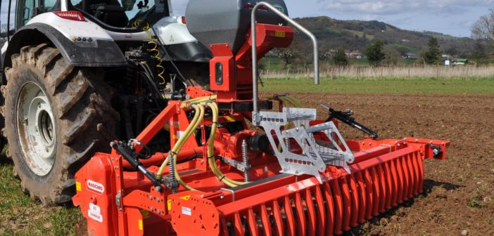 One-pass seeding on shallow/stony soils with rotavator/seeder combination